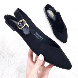 Shoes - NWT! Black Suede Fur Slingback Ballerina Flats 7